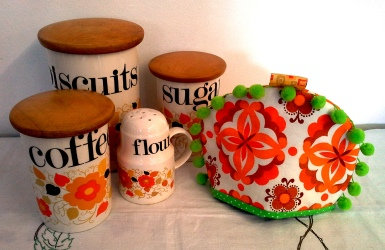 Orange and brown retro cannister set.