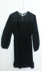 Black, mid length retro dress with pleated chiffon skirt, ruffles around the hem & chiffon long sleeves