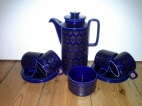 Dark blue retro Hornsea coffee set.