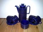 Dark blue retro Hornsea coffee set.