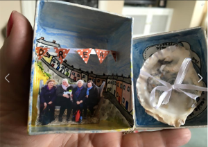 A hand decorated keepsake box with a Whitstable scene.