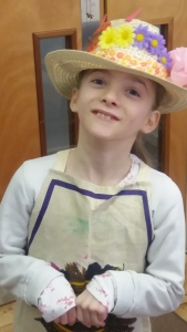 An Easter hat made by and modelled by an Easter bunny at the Tuftydawn Designs crafty workshop for children.