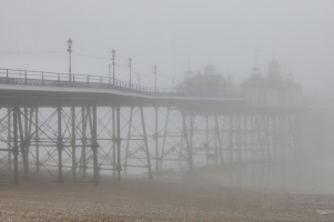 Eastbourne Pier shrouded in mist.