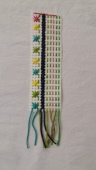 Binca bookmark with simple multi coloured stitching made at the Tuftydawn Designs studio.