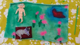 Fabric picture with felt ople and animals and ablended colour background made at Tuftydawn Designs.
