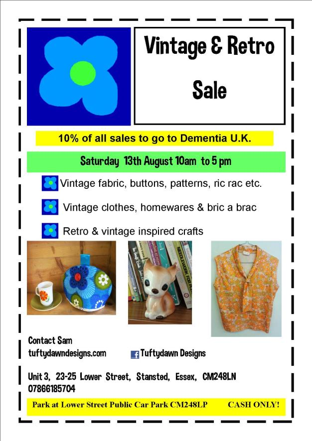 Poster for retro sale at the Tuftydawn Designs studio in Stansted.