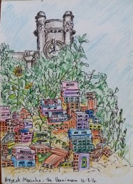 Sketch in ink and colour pencil of the Horniman clock tower and favela installation.