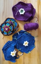 Several different crochet blocks from the Frida's Flowers blanket.
